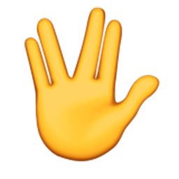 Raised Hand With Part Between Middle And Ring Fingers