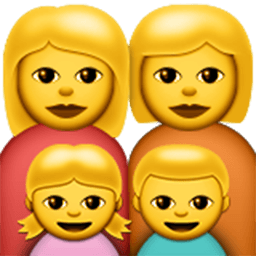 Family (woman,woman,girl,boy) Emoji