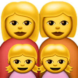 Family (woman,woman,girl,girl) Emoji