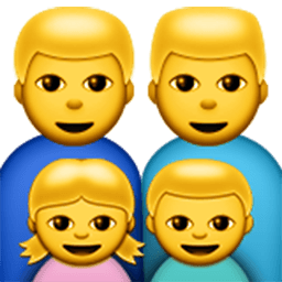 Family (man,man,girl,boy) Emoji