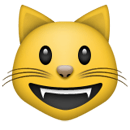 Smiling Cat Face With Open Mouth