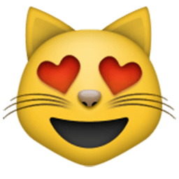 Smiling Cat Face With Heart-Shaped Eyes Emoji