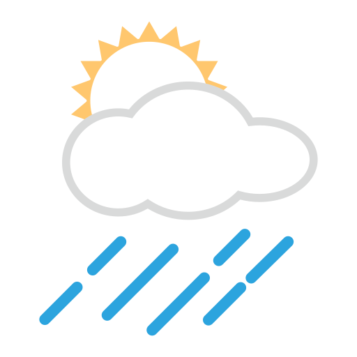 White Sun Behind Cloud With Rain Emoji